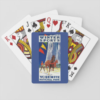 Winter Sports at Yosemite PosterYosemite, CA Playing Cards