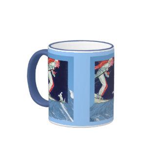 Winter sports - Downhill racers Ringer Coffee Mug