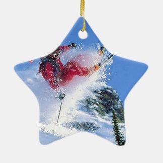 Winter sports, extreme ekiing ceramic ornament
