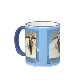Winter sports - first time on skis ringer coffee mug
