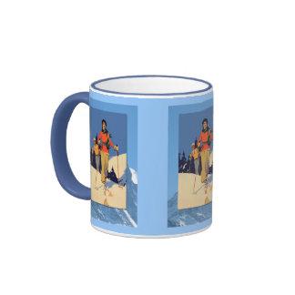 Winter sports - Lady on the ski slopes Ringer Coffee Mug