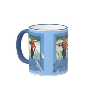 Winter sports - Lady with skis Ringer Coffee Mug