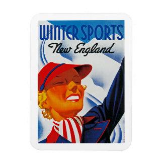 Winter Sports New England Rectangular Magnet