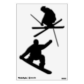 Winter Sports Skier and Snowboarder Wall Sticker