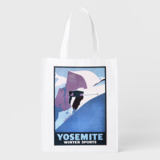Winter Sports Skiing Promotional Poster Reusable Grocery Bag