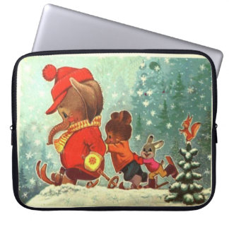 Winter sports time for bear, elephant and rabbit laptop computer sleeve