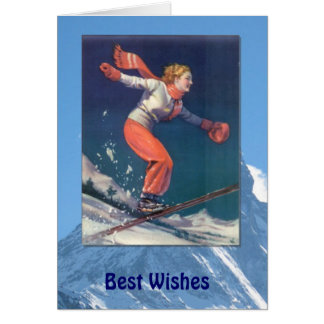 Winter Sports - Vintage fun on skis Card