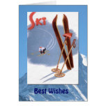 Winter Sports - Vintage skis and poles Greeting Card