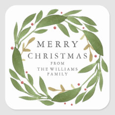Winter Sprigs Christmas Sticker at Zazzle