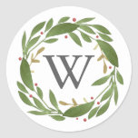 """Winter Sprigs Monogrammed Christmas Sticker<br><div class=""""desc"""">Winter Sprigs,  monogrammed Christmas sticker. Customizable. Part of a collection</div>"""