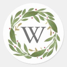 Winter Sprigs Monogrammed Christmas Sticker at Zazzle