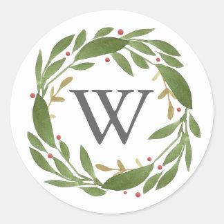 Winter Sprigs Monogrammed Christmas Sticker