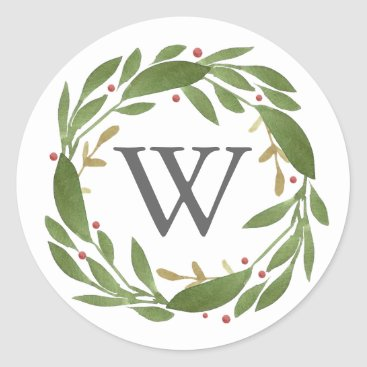Christmas Themed Winter Sprigs Monogrammed Christmas Sticker