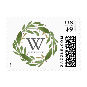 Christmas Themed Winter Sprigs Monogrammed Stamp