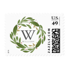 Winter Sprigs Monogrammed Stamp at Zazzle