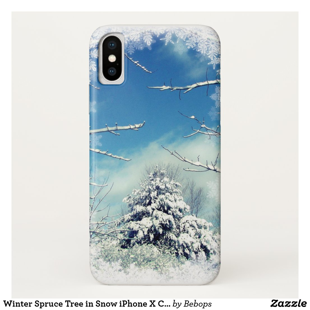Winter Spruce Tree in Snow iPhone X Case