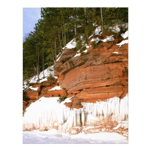Winter Squaw Bay Sea Caves Wisconsin Customized Letterhead