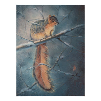 WINTER SQUIRREL by SHARON SHARPE Poster
