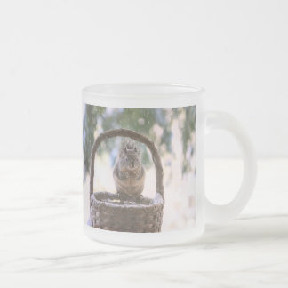 Winter Squirrel in Snow Frosted Glass Coffee Mug