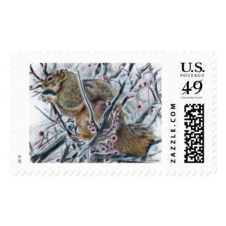 Winter Squirrel in Tree Postage