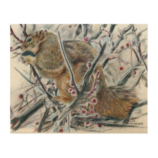 Winter Squirrel in Tree Wood Wall Art