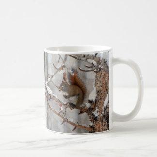 Winter Squirrel, Snow & Red Berries Xmas Design Coffee Mug