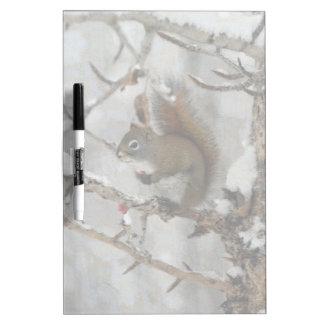 Winter Squirrel, Snow & Red Berries Xmas Design Dry-Erase Board