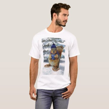 Coffee Themed Winter Squirrel T-Shirt