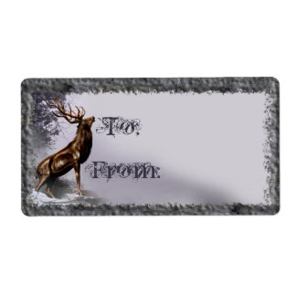Winter Stag Gift Tag Personalized Shipping Labels