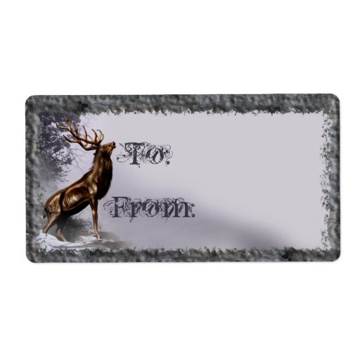 Winter Stag Gift Tag Shipping Label
