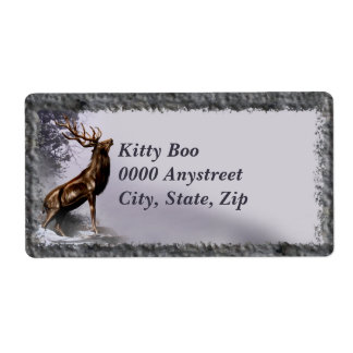 Winter Stag Large Personalized Shipping Labels