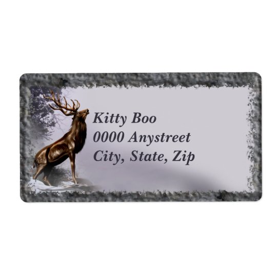 Winter Stag Large Label