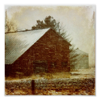 Winter Storm Barn Poster