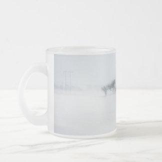 Winter storm landscape 10 oz frosted glass coffee mug