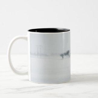 Winter storm landscape coffee mugs
