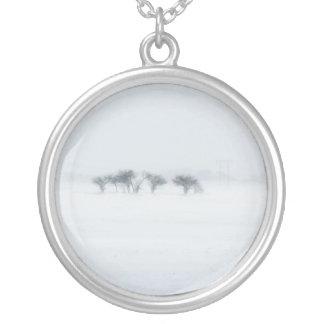 Winter storm landscape personalized necklace