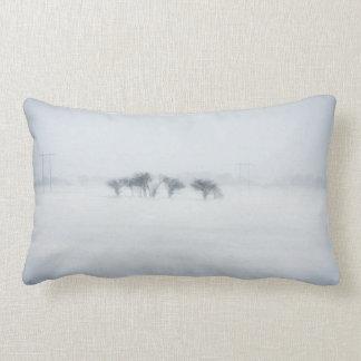 Winter storm landscape throw pillow