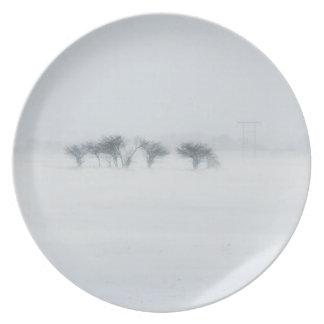 Winter storm landscape plate