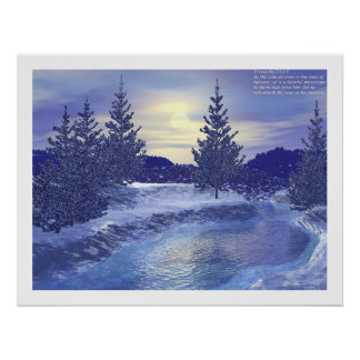 Winter Stream #2 with Proverbs  Print
