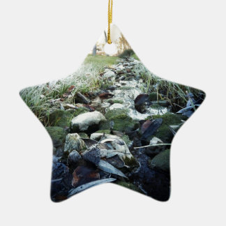 Winter Stream Ceramic Ornament