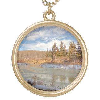 Winter Stream Round Pendant Necklace