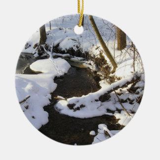 winter stream scene ceramic ornament
