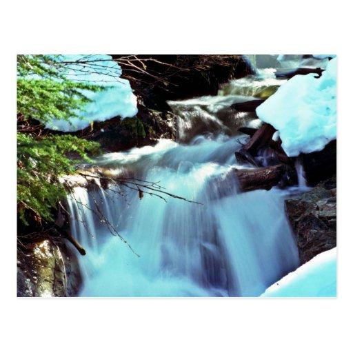 Winter Stream Waterfall Post Cards