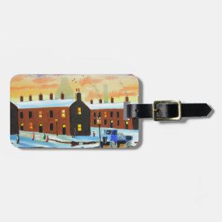 Winter street scene painting bag tag