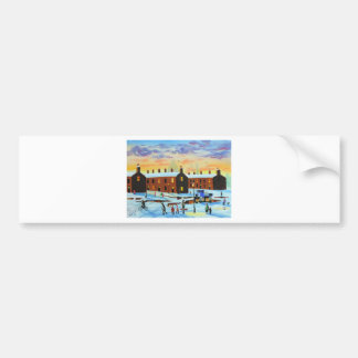 Winter street scene painting bumper sticker