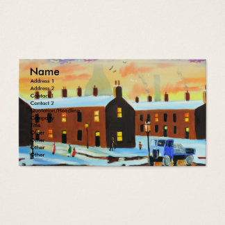Winter street scene painting business card