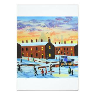 Winter street scene painting card