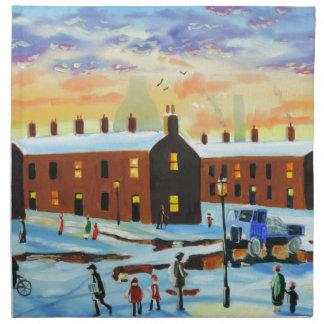 Winter street scene painting napkin