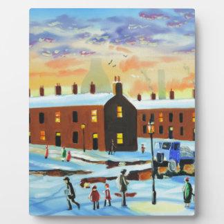 Winter street scene painting plaque