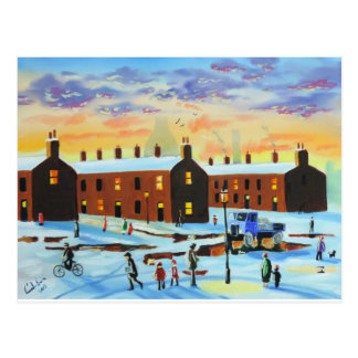 Winter street scene painting postcard